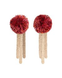 Mango - Pink Multi-coloured 'sakura' Pom Pom Earrings - Lyst