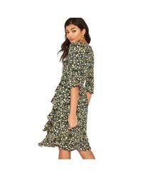 Oasis Green Ditsy Viscose Tea Dress