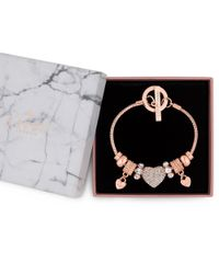 Lipsy - Metallic Crystal Pave Charm Gift Bracelet - Lyst