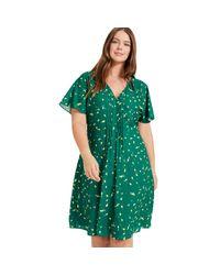 Studio 8 Sizes 16-26 Green Multi Juliet Lemon Print Dress