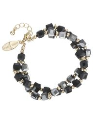 J By Jasper Conran Black Designer Square Facet Bead Bracelet