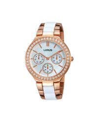 Lorus Multicolor Ladies Rose Gold Mutlidial With Inset White Bracelet Watch Rp630cx9