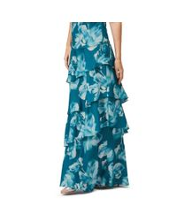 Jacques Vert Blue Printed Tiered Maxi Skirt