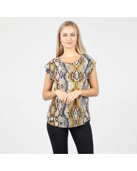 Izabel London - Multicolor Yellow Snake Print Boxy Top - Lyst