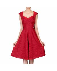 Jolie Moi Red Crossover Bust Lace Prom Dress