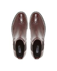 Dune Brown Maroon Leather 'quark' Ankle Boots for men