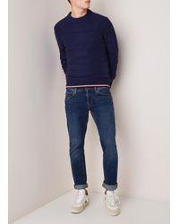 Tommy Hilfiger Fijngebreide Pullover In Katoenblend Met Structuur in het Blue voor heren