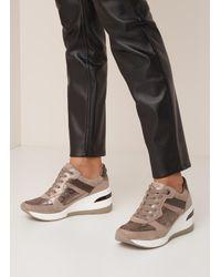 Dune Easton Sneakerwedge Met Suède Details in het Brown