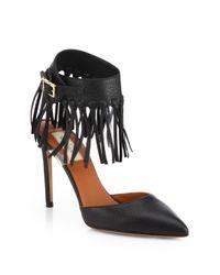 Valentino Black C-Rockee Leather Fringe Ankle Strap Pumps