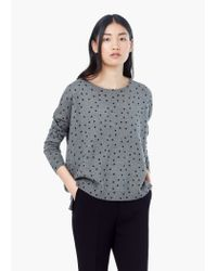 Mango - Gray Polka-dot Cotton-blend Sweater - Lyst