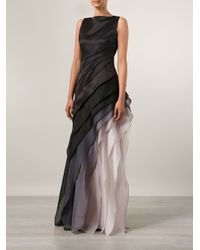 Halston Black Faded Ruffle Evening Gown