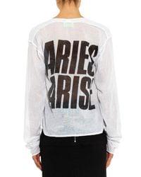 Aries White Slogan-Print Cotton-Muslin Top