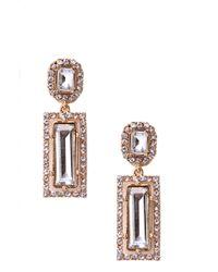 AKIRA Metallic Crystal Rectangle Earrings