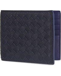 Bottega Veneta Blue Intrecciato Woven Leather Billfold Wallet for men