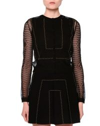 Valentino - Black Open-knit Long-sleeve Ajour Cardigan - Lyst