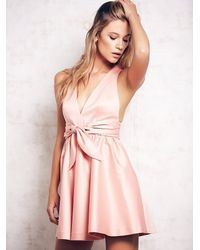 Free People | Pink Beck Deep V Dress | Lyst