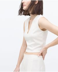Zara | White Technical Top | Lyst