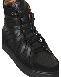 Damir Doma | Black Multi Strap Leather High Top Sneakers for Men | Lyst