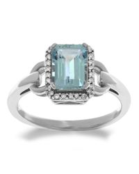 Lord & Taylor | Blue 14kt. White Gold Diamond And Aqua Ring | Lyst