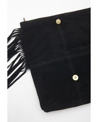 Forever 21 - Black Fringed Genuine Suede Clutch - Lyst