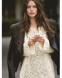 Free People | White Womens Pretty Pointelle Vee Sweater | Lyst