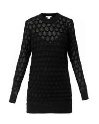 Helmut Lang Black Corded Lace-Knit Sweater