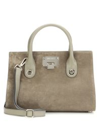 Jimmy Choo | Gray Riley Suede Tote | Lyst