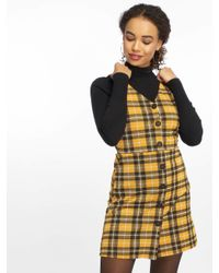 New Look Yellow Frauen Kleid Mustard Check BTN Thru Pinny