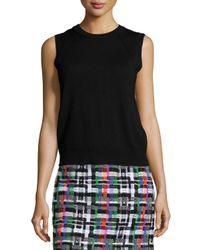 MILLY   Black Angled-Seam Knit Merino Shell   Lyst