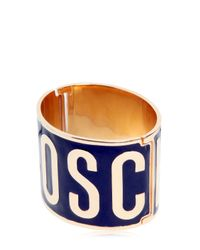 Moschino | Metallic Logo Lettering Enameled Bracelet | Lyst