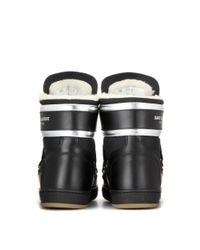 Saint Laurent - Black Leather Boots - Lyst