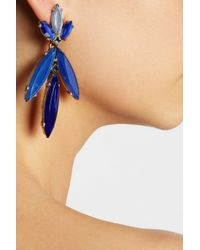 Oscar de la Renta Blue Goldplated Crystal and Resin Clip Earrings