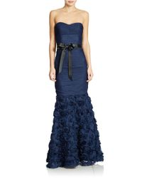 JS Collections | Blue Strapless Shirred Mesh Gown With Flowered Skirt | Lyst
