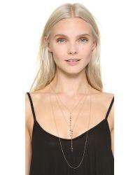 Serefina Metallic Layered Stone Necklace - Tourmaline/gold
