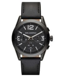 Karl Lagerfeld - Black 'kurator' Chronograph Leather Strap Watch for Men - Lyst