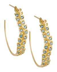Jamie Wolf - Metallic Pave Aquamarine Vine Hoop Earrings - Lyst