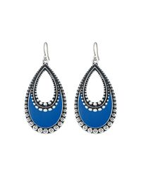 Lucky Brand | Metallic Navy Enamel Earrings | Lyst