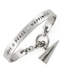 BCBGeneration | Metallic Silvertone Love Peace Happiness Bracelet | Lyst