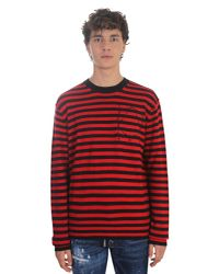 McQ Alexander McQueen - Red Wool And Cashmere Striped Sweater for Men - Lyst