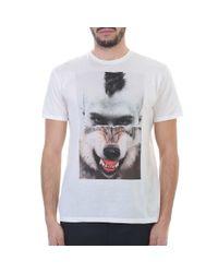 Neil Barrett White Wolf Printed Cotton T-shirt for men