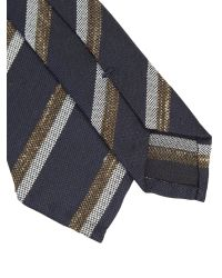 Dell'Oglio | Blue And Brown Regimental Linen And Silk Tie for Men | Lyst