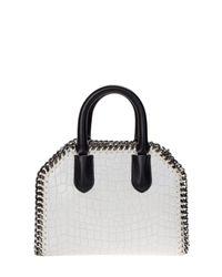 Stella McCartney - White Ivory Falabella Faux Leather Crocodile Effect Bag - Lyst