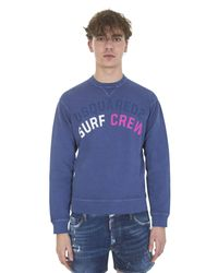 DSquared² | Surf Cream Printed Blue Cotton Sweatshirt for Men | Lyst