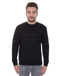 McQ Embossed Embroidery Black Cotton Sweater for men