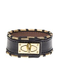 Givenchy | Black Leather And Gold Metal Shark Bracelet | Lyst