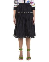 KENZO Metallic Gold Details Embellished Black Skirt