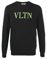 Valentino Black Logo Intarsia Viscose Blend Sweater for men