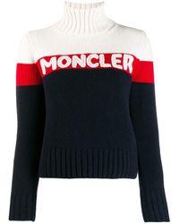 Maglia di lana e cashmere con logo di Moncler in Blue