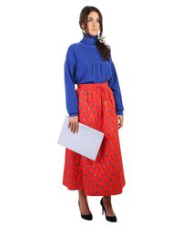 KENZO Red Memento Quilted Cotton Skirt