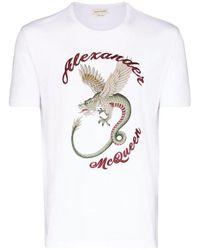 T-shirt di cotone con stampa di Alexander McQueen in White da Uomo